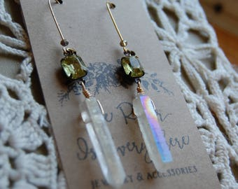 Clear Aura Quartz Crystal Stone point drop earrings with Vintage Green Jonquil Jewels.