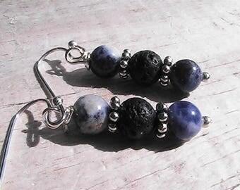 diffuser bead earrings. natural lava rock earrings. diffuser jewelry. lapis lazuli gemstone earrings jewelry.
