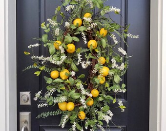 Lemon Wreaths, Artificial Lemon Wreath, Summer Front Porch Wreaths, Faux Lemon Wreaths, Faux Lemon Decor, Artisan Wreaths, Oval Wreaths
