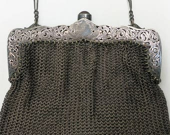 A German Silver Chainmail Evening Bag...Open Silver Work...Engraved Barbara E, Meinnich ...Channel Set Stone Closure