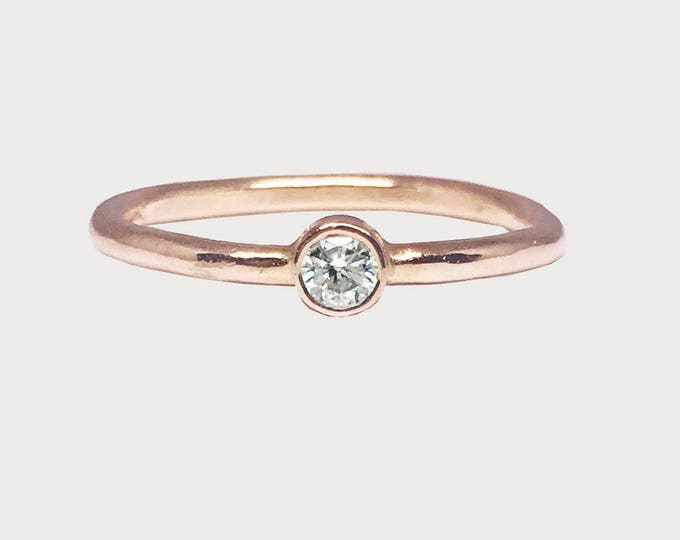 You Are My Wishing Star_ 14K Rose Gold Bezel Set Solitaire Moissanite Engagement Ring