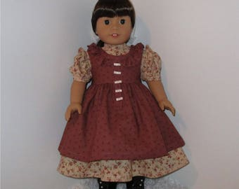 "Tan and Burgundy Ruffled Prairie Dress with Pinafore, Fits 18"" Dolls // AG Doll Clothes, AG Doll, American Girl Dress, Historical, Period"