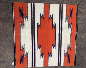 Vintage Navajo Wool Saddle Blanket, Orange, Blue, Brown, and Off White