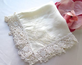 Silk Handkerchief with Antique Irish Crochet Lace Trim in Ivory One of a Kind Wedding, Bridal or Special Occasion Hanky
