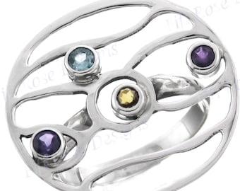 Design Amethyst Citrine Topaz 925 Sterling Silver Sz 8.5 Ring