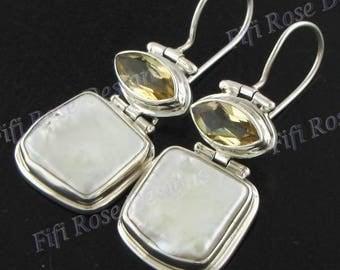 """15/16"""" Biwa Pearl Citrine 925 Sterling Silver Earrings"""