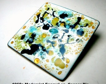 1960s Modernist Enamel on Copper Pin, Mid Century ARTSY Abstract White, SeaGreen, Baby Blue, Black & Ochre Colors on Nice Size Square Brooch