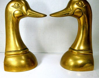 Brass Duck Bookend Pair, 1970s Taiwan, Duck Has a Waddle, Great Cabin Decor, For the Hunter Duck Lover, Farm Room