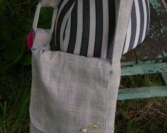 Chrissy's Messenger  Bag -  Beige and Blue Plaid