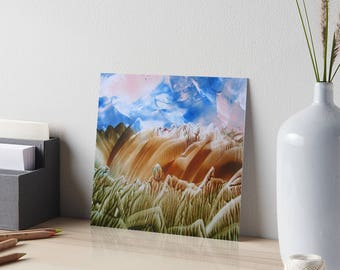Encaustic Blue Skies from Now On Art Board / Art for Small Spaces / Collectible Small Format Art / Made to Order in 3 Sizes