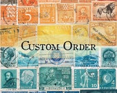 Rainbow selection of used postage stamps