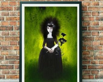 A3 Art Print - Large Print - Big Eyed Art - Wall Decor - Masquerade Merlo