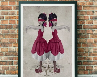 Twin Art Print - A3 Art Print - Large Print - Twin Sisters - Blind Leading The Blind
