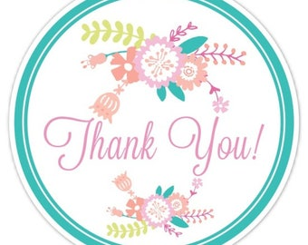 60 Wedding Shower Stickers, Pink and Teal Floral Thank You Labels, Stickers, 2.5 inch round, Wedding Shower, Bridal Shower Favor