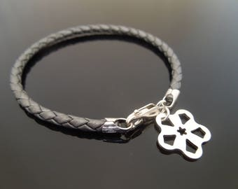 3mm Metallic Grey Braided Leather Bracelet With 925 Sterling Silver Flower Charm