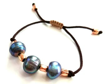 Big Boggly Blue fresh water pearls -  boho adjustable bracelet with rose colored gold accents