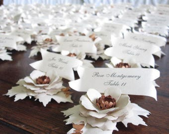 Custom Paper Flower Place Cards