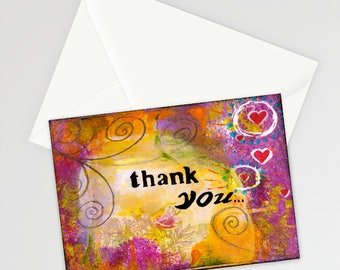 "Whimsical Thank You 5""x7"" Blank Greeting Card with Envelope, Thank You Notecard, Stationery, Thankful, Gratitude, Canadian Made"
