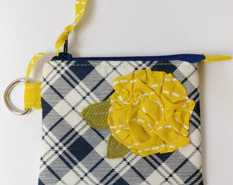 Mini Clutch Style Zipper Pouch in Blue Plaid Fabric