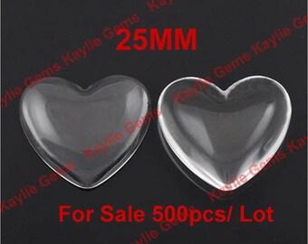 Sale 500pcs 25mm Heart Clear Glass Cabochon Wholesale