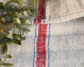 F 81: Grain Sack antique  RED and BLUE rustic pillow benchcushion 29.53 inches long wedding decoration