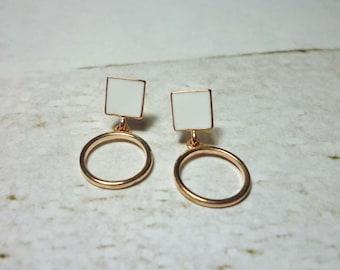 Circle Drop Stud Earrings, Circle Earrings
