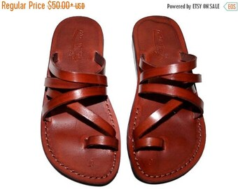 15% OFF Brown Buckle-free Leather Sandals For Men & Women - Handmade Unisex Sandals, Flip Flop Sandals, Jesus Sandals, Genuine Leather Sanda