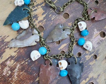 Arrowhead, skull and turquoise beads Necklace - Earthy jewelry - brass chain - Boho chic - Bohemian jewelry - One of a Kind bycat
