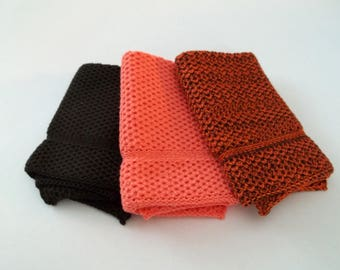 Dishcloths/Washcloths  Knit in Cotton in Brownie, Apricot and DkBrown/Rust/Orange