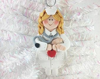 Nurse Christmas Ornament  -  Polymer Clay Christmas Ornament - Nurse Gift - Female Nurse Ornament - Polymer Clay Nurse Ornament  - 672