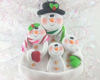 Personalized Snowman Family Christmas Ornament - Personalized Snow Family of Four - Personalized Polymer Clay Christmas Ornament -856