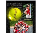 50% Off - SPORTS Memory Mates - Honeycomb Softball - (2)  8x10 Digital Photoshop Templates for Sports Photographers.