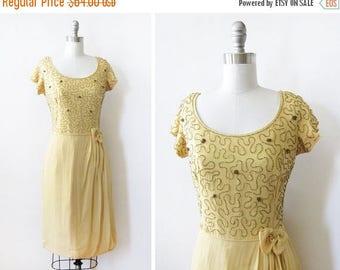 20% OFF SALE yellow chiffon beaded dress, vintage 60s chiffon dress, medium 1960s party dress - AS Is