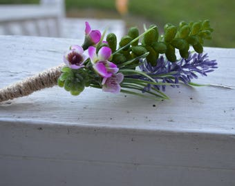 Succulent with Purple Wax Flower and Lavender Silk Boutonniere Wrapped with Twine  Country Rustic Wedding