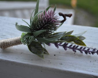 Purple Thistle with Succulent and Lavender  Silk Boutonniere Wrapped with Twine  Country Rustic Wedding