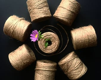 CRAFT JUTE TWINE / 330 feet / gift wrapping / craft supply / party decoration / all natural jute twine / retail packaging / garland twine