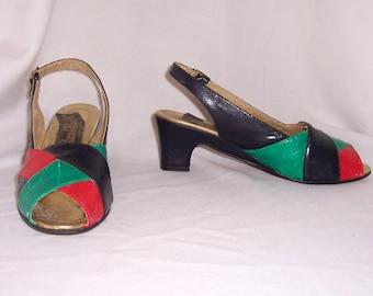 Sz 5 Vintage multi color leather 1990s women sling back open toe low heel shoes.
