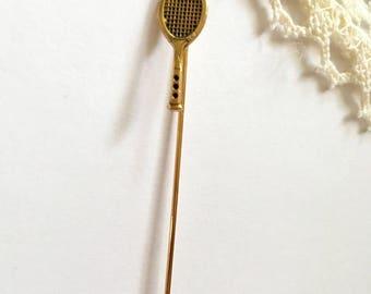 Vintage Tennis Racket Stickpin Hat Pin Stick Pin New Old Stock NOS