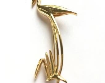 Vintage Goldtone Flamingo Egret Crane Figural Pin Brooch New Old Stock NOS