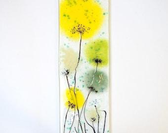Yellow Green Fused Glass Wall Art - Poppy Art - Handmade Glass Gift - Glass Art - Yellow Flower Art - Glass Poppy Wall Art - EH 688