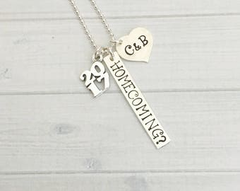 Homecoming Necklace - Homecoming Proposal Jewelry - Personalized Cotillion Necklace - Homecoming Invite - Promposal Jewelry