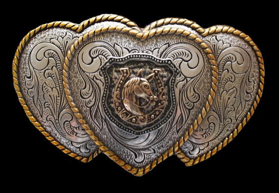 Three Heart Western Belt Buckle with Horse Shield