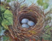 Bird Nest I,Nature Still Life Painting,Two Blue Bird Eggs,Original Oil Canvas Painting by Cheri Wollenberg