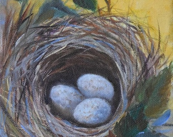 Whimsical Bird Nest III Natural Still Life Painting,Original Oil On Canvas by Cheri Wollenberg