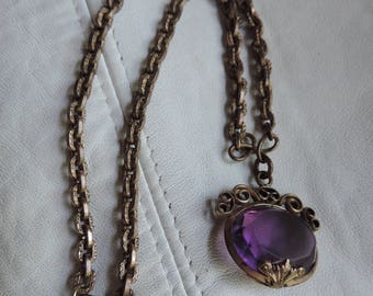 victorian necklace choker stamped brass chain amethyst glass cab