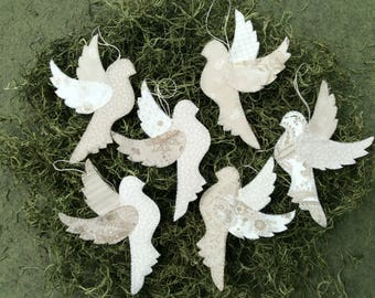 Dove Christmas Ornaments /Hand Stitched/Wedding Decor