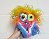 Plush Monster - Handmade Monster Plush - OOAK Stuffed Monster - Rainbow Faux Fur Monster - Hand Embroidered - Weird Cute Plush Toy - Doll