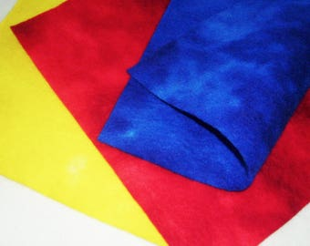 """Hand Dyed Wool Felt, PRIMARY, Three 10"""" x 12"""" Sheets in Red, Yellow and Blue"""