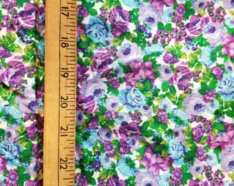 Floral Green Blue Purple roses rayon challis type almost 2yd