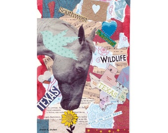 Horse Art, Texas Collage, Found Text, Red Blue Typography, Southwestern Home Decor, Animal Wall Hanging, Giclee Print, 8 x 10